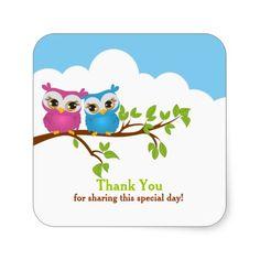 Sweet Twins Owls Girl boy Baby Thank You Sticker Sticker