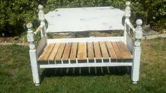 SOLD Summer Bench,  Constructed from re-claimed lumber and use of a oak head/footboard. Antique finish really made the bench stand out. $400.00 SOLD
