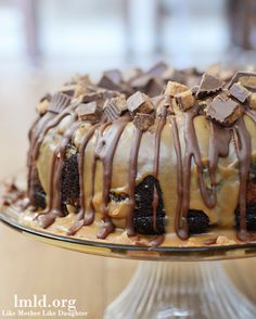 This bundt cake has a chocolate batter and a peanut butter batter topped with peanut butter and chocolate ganache!