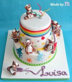 Painting Bears - by Made by M @ CakesDecor.com - cake decorating website