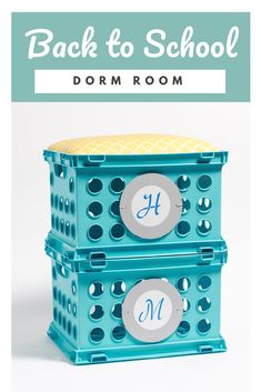 Dorm Storage Idea Personalized Crate Seating -This personalized crate seating Diy Dorm Decor, Dorm Decorations, Diy Decoration, Room Decor, Decor Ideas, Gift Ideas, Dorm Storage, Dorm Room Organization, Dorm Room Necessities
