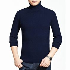 Mens Roll Neck Knitwear Cashmere Blend Turtleneck Slim Fit Knitted Sweater at Banggood
