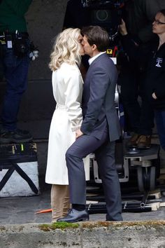 """Tom Cruise and Vanessa Kirby on the set of """"Mission: Impossible 6"""" in Paris on May 2, 2017."""