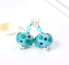Blue green earrings with dots, Ocean jewelry, Handmade lampwork glass earrings, Teal jewelry Sea Glass Necklace, Glass Earrings, Dangle Earrings, Glass Beads, Beach Jewellery, Teal Jewelry, Swarovski Crystal Earrings, Green Earrings, Lampwork Beads