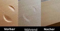 Kratzer aus Holz bügeln