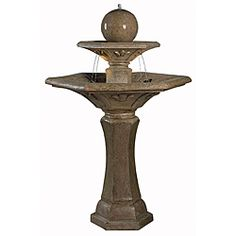 @Overstock - Inspired from the rich architecture of southern France's many monuments and churches springs Provence.  This two-tiered lighted fountain, with its Dark Travertine finish and classic paneled ornamentation, is crowned by a grand bubbling orb.
