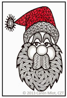 Tangle Mania: Yes, Virginia, There is a Santa Claus; Caren Mlot, CZT(certified zentangle teacher)