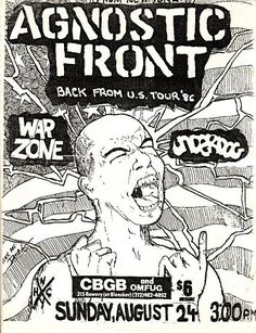 Agnostic Front, Underdog, Warzone punk hardcore flyer