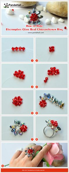 How to Make Electroplate Glass Bead Chrysanthemum Ring Thread electroplate glass beads, seed beads and bicone crystal beads into a chrysanthemum shape, and glue the flower onto the pad ring base, and then an exquisite ring is finished!
