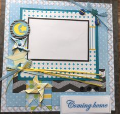 """Pre-made 12"""" x 12"""" scrapbook page for your baby boy's coming home from the hospital memories. by Carolsues on Etsy"""