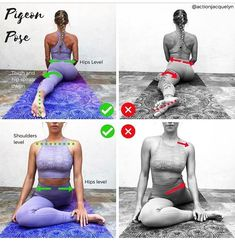 Common mistakes in pigeon pose. Proper alignment. #yoga #yogainspiration