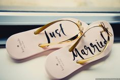 """Just Married"" wedding flip flops - wedding shoes {White Lotus Studios Photography}"