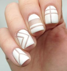 Simple white negative space nails