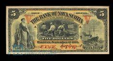 Canada, Bank of Nova Scotia, 5 dollars : September 1908 September 1, Old Coins, Nova Scotia, Postage Stamps, Dollhouse Miniatures, Vintage World Maps, Museum, Cad Blocks, Canada