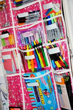 over the door supplies organizer. this needs to go on my laundry room door for coloring books, markers & dry erase boards & all the other crap the girls do non stop so my laundry room counter can be clear! School Supplies Tumblr, School Supplies Highschool, Cute School Supplies, Do It Yourself Organization, School Supplies Organization, College Organization, Organization Ideas, Office Supplies, Organizing