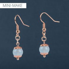 Bring out your bead stash and get creative with this week's Mini-Make, inspired by blue tones 'Island Paradise', 'Lapis Blue' and 'Niagra' of Pantone's Spring Colours for 2017. We've paired jade gemstones with a touch of rose using NEW copper plated spiral bead caps to make a delicate pair of earrings with a trending colour combination.