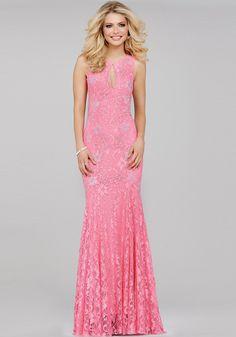 26fb57a81d0 Pink Lace Prom Dress 35024