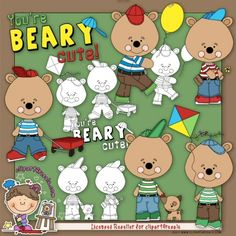 Benny The Bear 1 Clip Art & Digi Stamp Set by Alice Smith