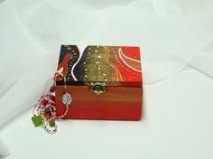 Boîte à bijoux, orange, rouge et or et motif abstrait : Boîtes, coffrets par mysteoline