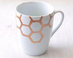 Gold Honeycomb Porcelain Mug // honey bee motif antique gold
