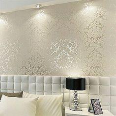 Floral textured damask design glitter wallpaper for living room/bedroom 10M roll #Chinabrand