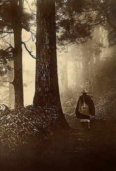 """PILGRIM ON A FOREST ROAD -- Into the Mist of Old Japan"" by Okinawa Soba, a master of the Taigo Art style of photography, ca.1905"