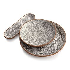Love these patterned terracotta serving dishes! Country modern [Nico, Crate and Barrel]