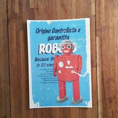 Art Poster Printing, The Name of Robot is Roboto, Sky Blue Back Ground, All Posters on the Web by HeyCi on Etsy