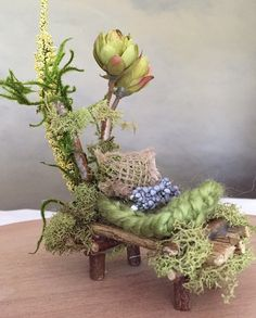Mini Fairy Bed Handcrafted by Olive Fairy by OliveNatureFolklore