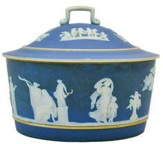 Wedgwood Jasper Blue & White Butter or Cheese Tub English 19th century