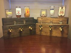 Handcrafted Liquor Dispenser. Excellent for anyone interested in adding to their own bar or giving as a gift for a friend. Ranging from 1-5 bottles. Made to order and easily customized. Shelf can be removed upon request. 5+ Bottles can be created upon request, please message to confirm
