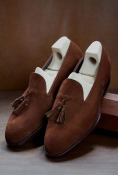 Custom Handmade Casual Brown Suede Formal Tassels Loafer Slips On Shoes Trending Occasion Shoes sold by Mr.Leather on Storenvy, the home of independent small businesses all over the world. Slip On Shoes, Men's Shoes, Dress Shoes, Men Dress, Dandy, Saint Crispin, Suede Leather Shoes, Soft Leather, Brown Leather