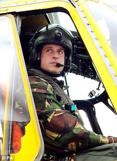 Prince William (The Duke of Cambridge) in his Sea King helicopter after rescuing drowning sailors in the North Sea
