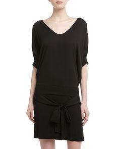 Diane von Furstenberg Edna Dolman-Sleeve Drop-Waist Dress, Black
