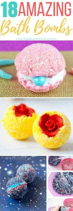 18 amazing lush DIY bath bombs that are easy to make. See many recipes from natural to galexy to scented bath bombs! So many great ideas. They also make the perfect gift.