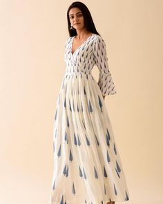 """Priya Keswani Label on Instagram: """"SHOP FOR A CAUSE ✨ Our Blue Leaf Angrakha features our iconic leaf print Detailed with bell sleeves. Amidst the ongoing COVID-19 crisis…"""" Indian Designer Outfits, Designer Dresses, Indian Outfits, Printed Kurti Designs, Tuck Dress, Angrakha Style, Cotton Long Dress, Indian Gowns Dresses, Kurta Designs Women"""