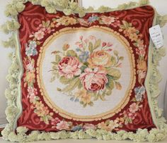 "16"" French Country Style Handmade PetitPoint Needlepoint Pillow w/Tassel WM-84"