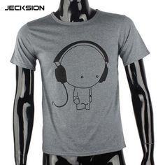 JECKSION 2016 Fashion Men Boy High Quality Camisetas Tees Short Sleeve  O-Neck Earphone T e92ec9c80b682