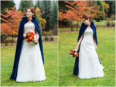 twilight movie theme wedding design in Yosemite, blue cape fall winter season
