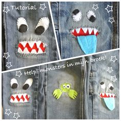 Tutorial Monster in meiner Hose . Sashiko Embroidery, Hand Embroidery, Sewing For Kids, Baby Sewing, Sewing Clothes, Diy Clothes, How To Patch Jeans, Sewing Crafts, Sewing Projects