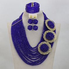 >> Click to Buy << Charms 10 Strands Royal Blue Crystal Beads African Jewelry Sets Big Brooch Pendant Necklace Set Free Shipping WD659 #Affiliate