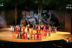 """Cherokee, North Carolina.  This is """"Unto These Hills,"""" an outdoor drama of The Trail of Tears, telling the story of how the Cherokee Indians were forced by the government, under President Andrew Jackson, to leave the Blue Ridge mountains, and of how they eventually returned and continue to maintain their heritage there today."""
