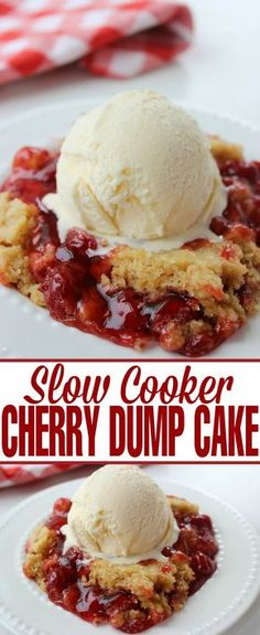 Cooker Cherry Dump Cake - Life Love Liz This Slow Cooker Cherry Dump Cake recipe is one of my favourite desserts. It is such an easy dessert!This Slow Cooker Cherry Dump Cake recipe is one of my favourite desserts. It is such an easy dessert! Slow Cooker Desserts, Crock Pot Desserts, Easy Desserts, Delicious Desserts, Yummy Food, Tasty, Awesome Desserts, Crock Pots, Crockpot Recipes