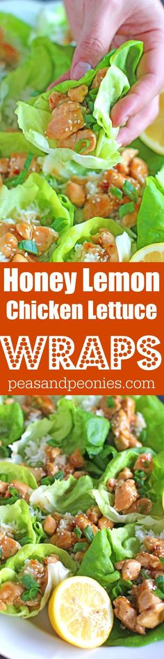Honey Lemon Chicken Lettuce Wraps are such a great appetizer, snack or the perfect healthier dinner. Full of flavor and light, ready in 30 minutes.