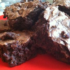 These are the Best homemade Fudge Brownies ive ever made. The dont have a strong bitter chocolate taste like most decadent brownies, Just a perfectly rich moist chocolate brownie. .YUM