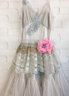 pale taupe tulle boho wedding dress by mermaid miss Kristin