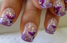 18 Stunning Purple Nail Arts & Designs in 2019 - Beauty Purple Nail Art, Purple Nail Designs, Flower Nail Designs, White Nail Art, Flower Nail Art, Nail Art Designs, Nails Design, Purple Glitter, Nail Pink