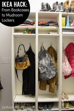A fun IKEA Hack! How to build mudroom lockers. IKEA Mudroom hack is an easy way to build IKEA cubbies with simple bookcases. Ikea Storage, Storage Hacks, Garage Storage, Garage Organization, Shoe Storage, Storage Solutions, Storage Ideas, Hallway Storage, Attic Storage
