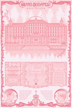 The detail in this Anthony Petrie print is beyond. Showing the layout of the Grand Budapest - it has everything included. Pick one up now - perfect for any Wes Anderson fan, right here:. West Anderson, Wes Anderson Movies, Grande Hotel, Travel Sketchbook, Grand Budapest Hotel, Cool Posters, Graphic Design Illustration, Pattern Wallpaper, Screen Printing