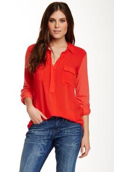 Splendid | Long Sleeve Spread Collar Shirt